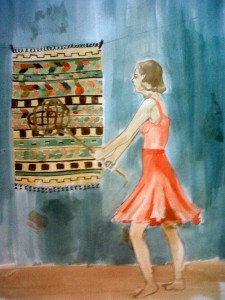 A picture of a girl beating a rug