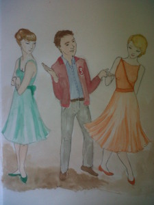 A picture of a boy choosing between two girl dance partners