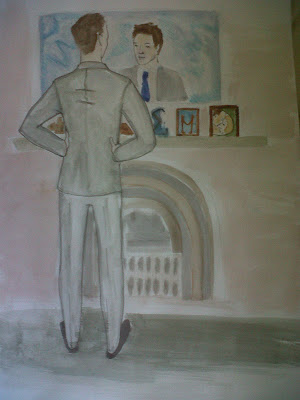 A young man looking at himself in a mirror